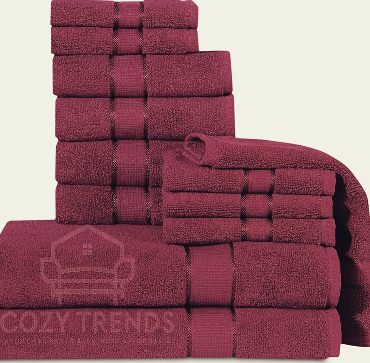 Cozy Home Collection Cotton Absorbent GSM Limited time Some reservation sale 12 600 Piece Bathroom