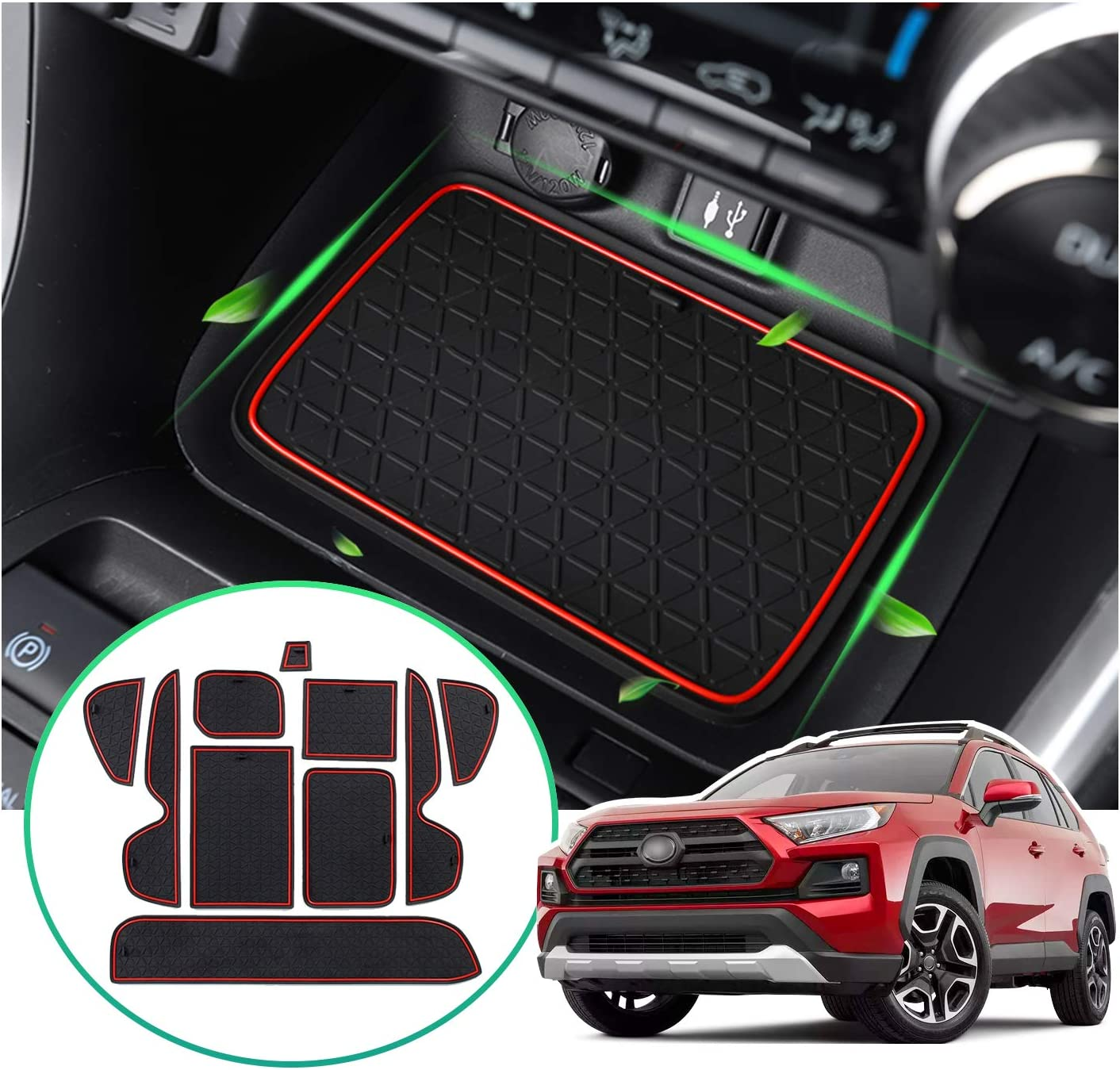 Red SHAOHAO Accessories for RAV4 Center Console Liners Compatible for Toyota RAV4 2019-2020 Premium Groove Liners Console Rubber Mats