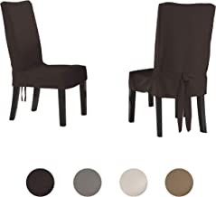 Serta   Relaxed Fit Smooth Suede Furniture Slipcover for Dining Room Chair, Short Skirt (Chocolate)