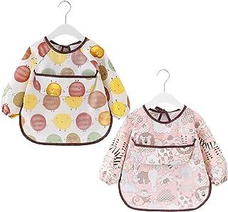 2 Stück Baby Lätzchen mit Langen Ärmeln Wasserdicht Baby Fütterung Ärmellätzchen Waschbare Baumwolle Baby Schürze für 6-36 Monate Kinder Essen Malen und Spielen