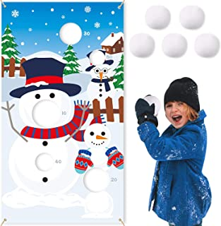 CiyvoLyeen Snowman Toss Games Banner, Winter Christmas Holiday Party Cornhole Game with 5 Snowballs for Kids Adults Family...