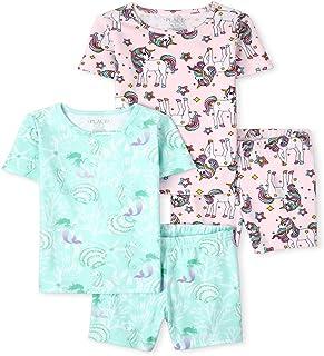 The Children's Place Girls Unicorn Mermaid Snug Fit Cotton 4-Piece Pajamas