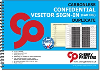 Cherry Confidential Visitor Log Book/Sign in/Register, 2-Part Book with Car REG, 50 Sets, 8.27 x 11.69 Inches