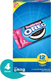 Oreo Double Stuf 12 Count Chocolate Sandwich Cookies Snack Packs, Chocolate, 18.0 Ounce (Pack of 4)