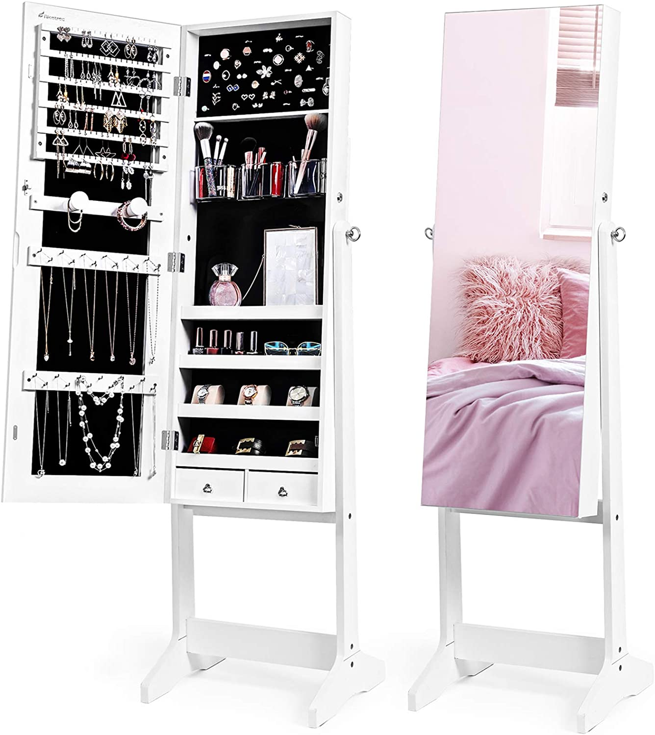 Nicetree Jewelry Cabinet with Full-Length Mirror, Standing Lockable Jewelry Armoire Mirror Organizer, 3 Angel Adjustable, White : Clothing, Shoes & Jewelry