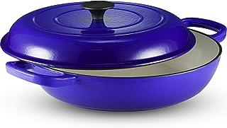 Klee - Cacerola de hierro fundido esmaltado, sartén con tapa de 3.8 cuartos, cacerola con tapa, cacerola con tapa, sartén antiadherente con tapa, cacerola azul de 12 pulgadas