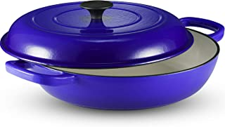 Klee Enameled Cast Iron Covered Casserole Dish with Lid, 3.8 Qt, 12-inch (Blue)