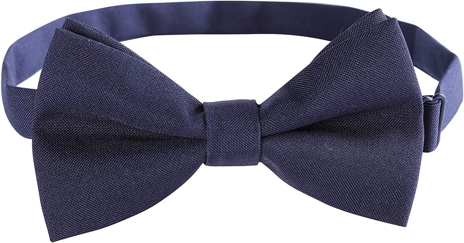Classic Pre-Tied Mens Bow Ties Formal Adjustable Solid Tuxedo Bowtie for for Adults & Children