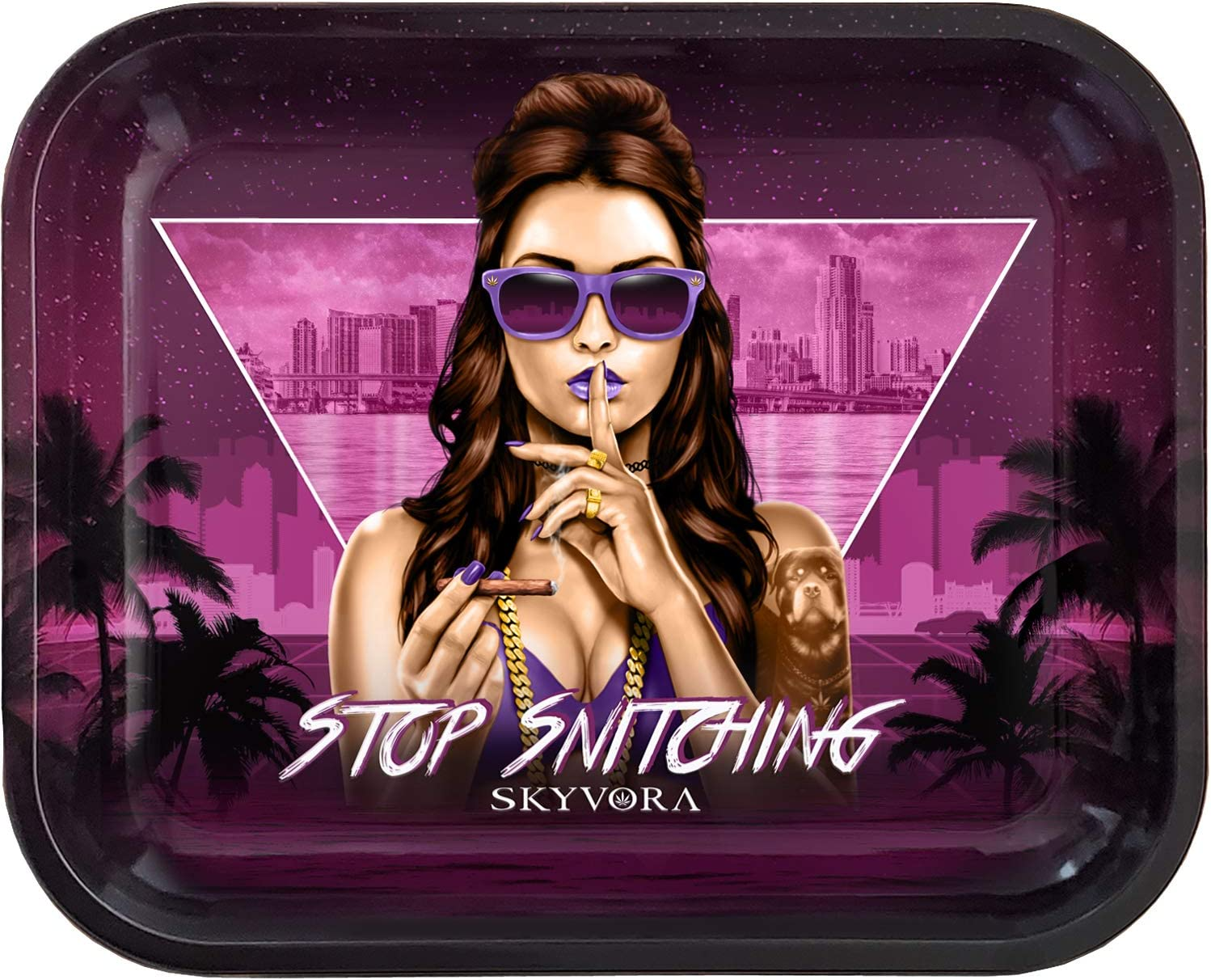 Skyvora Metal Miami Mall Rolling Tray - Stop Large x Daily bargain sale Design 14 Snitching