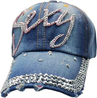Tipsy Chics Cap Smith Women's Denim Sexy with Rhinestone Baseball Hat
