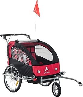 Aosom Elite II 3-in-1 Double Child Bike Trailer/Stroller/Jogger, Red/Black
