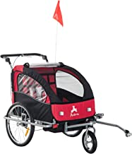 Aosom Elite II 3-in-1 Double Child Bike Trailer/Stroller/Jogger, Red/Black