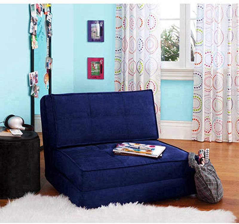 Your Zone Flip Chair Convertible Sleeper Dorm Bed Couch Lounger Sofa Multi Color New Blue