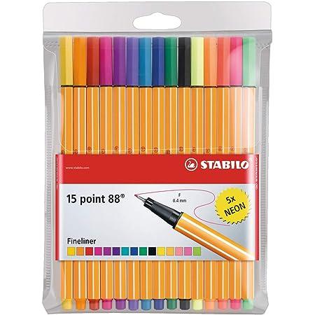 Fineliner - STABILO point 88 - Astuccio da 15 - Colori assortiti