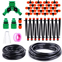 Ohuhu Drip Irrigation Kit, 66 FT/20M Garden Irrigation System, Adjustable Automatic Micro Irrigation Kits w/ 2 Different Emitters, Durable Distribution Tubing Hose for Greenhouse, Flower Bed, Pots
