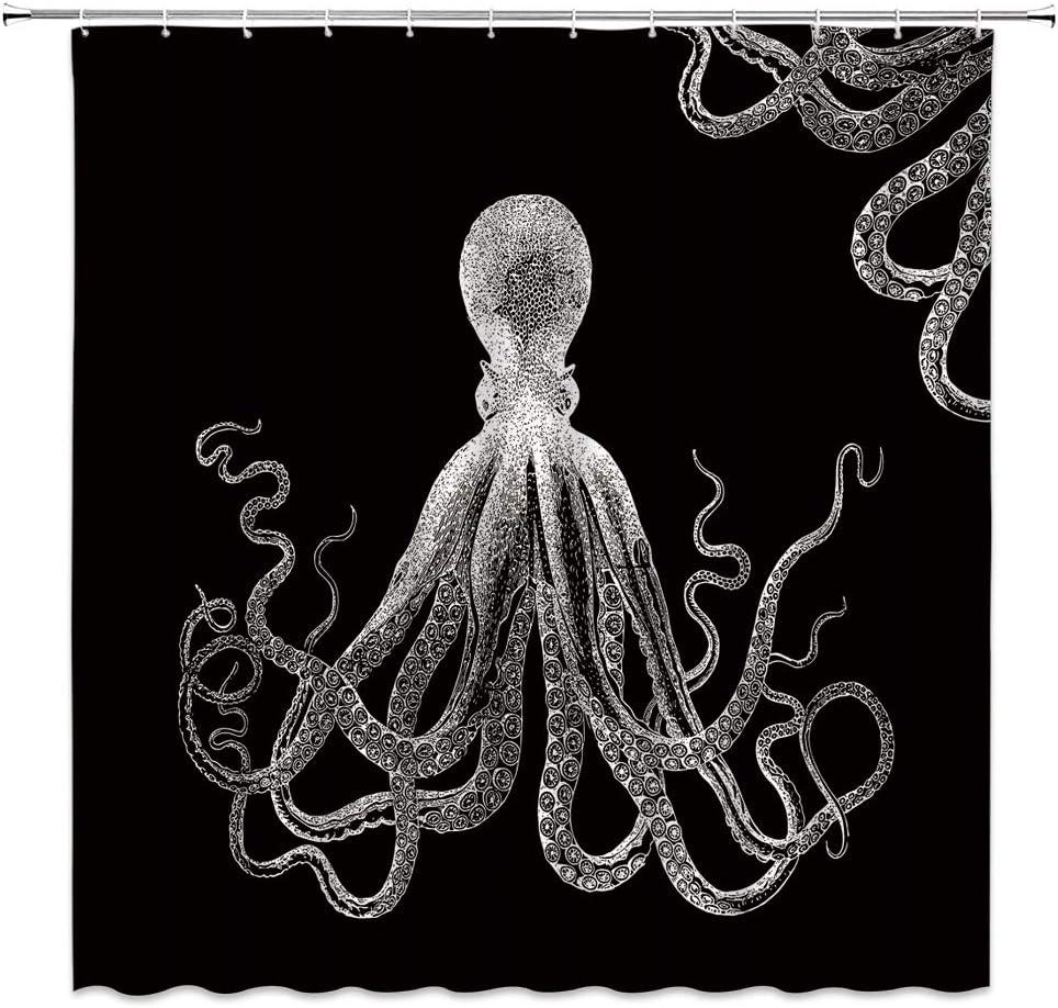 Tablecloth Blue Octopus Ocean Cephalopod Tentacles Squid Nautical Cotton Sateen