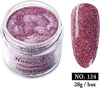 28g/Box Rose Pink Shine Glitter Sequins Paillette Dip Powder Nails Dipping Nails Long-lasting Nails No UV Light Needed, (No.124)