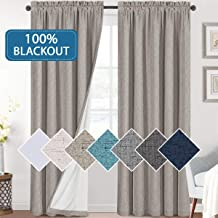Bedroom 100% Blackout Curtains Textured Linen Look Room Darkening Drapes for Living Room, Thermal Insulated Rod Pocket Cur...