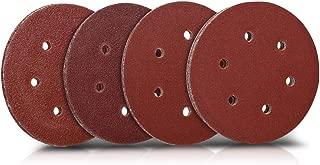 Navaris 25 pcs Sanding Sheets - Assorted P40, 60, 80, 100 Grit Sand Paper for Wood Metal Hook and Loop Pads for Orbital Sander 125mm