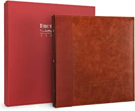 Magicfly Self Adhesive Photo Album, 12. 5 X 10. 7 Inch  Waterproof Family Album with Leather Cover for 3x5, 4x6, 5x7, 6x8, 8x10 Photos, ( 30 Sheet, 60 Pages) Red Brown