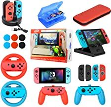 $36 » Accessories Kit Bundle for Nintendo Switch,19 in 1 Essential Games Kit for Switch Including Joy Con Covers,Grips,Wheels and Thumbstick Caps, Carrying Bag Charging Dock, Game Card Case PlayStand