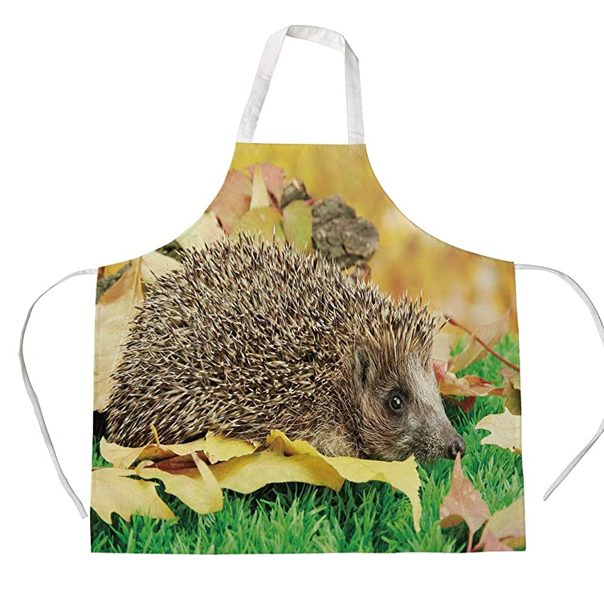 Hedgehog 3D Printed Cotton Linen Apron,Cute Little Hedgehog on Autumn Leaves in Forest Scenes from World Decorative,for Cooking Baking Gardening,Brown Earth Yellow Green