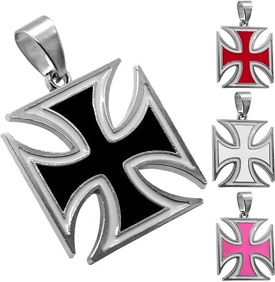 Tumundo 1 Kettenanhänger Eisernes Kreuz Anhänger Iron Cross Für Halskette Panzerkette Königskette Weiß Schwarz Silbern Variante Pink Schmuck