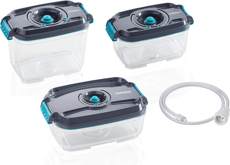 Leifheit Set de 3 recipientes para alimentos al vacío, fiambrera hermética e impermeable sin BPA, tápers para microondas, congelador y lavavajillas
