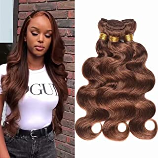 Light Brown Human Virgin Hair 3 Bundles Indian Remy Body Wave Human Virgin Hair Weave Extension Bundles Unprocessed Natural Brown Human Hair Bundles(Color 4, 14 16 18inch)