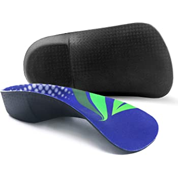 Orthotic Inserts 3/4 Length, High Arch Support Foot Insoles for Over-Pronation Plantar Fasciitis Flat Feet Heel Pain Relief Shoe Inserts for Running Sports Men and Women, L|Men's 9-11, Women's 10-12