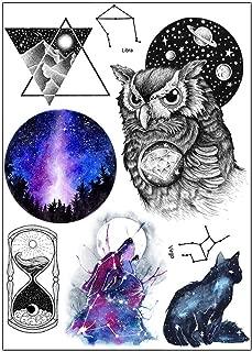 BESTPICKS Large Waterproof Fashion Temporary Tattoo Sticker - OWL, TIME, CAT, WOLF, EARTH, TRIANGLE - 14.5 X 21 cm Sheet