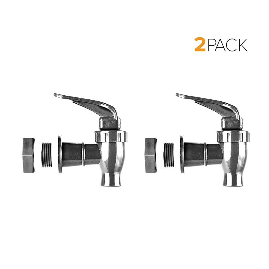 Brio Water Dispenser Replacement Valve 2 PACK, Cooler Faucet Spigot for Beverage Dispensers, Crocks, Coolers, and More BPA-Free Food Safe Material (Chrome)