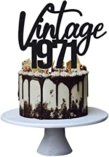 Vintage 1971 Cake Topper for 50th Men and Women Birthday Party ,Funny 50 and Fabulous Decoration,Handmade (Black)