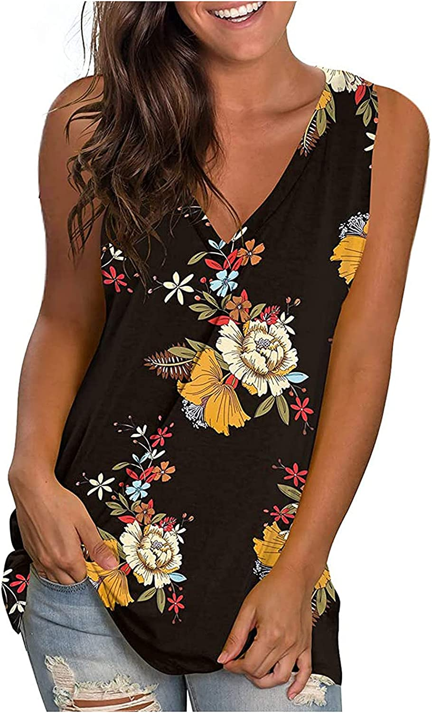 Tank Tops for Women Fashion, Womens Tank Tops V Neck Sleeveless Tunic Tops Floral Print Side Split Tanks Camis Vest