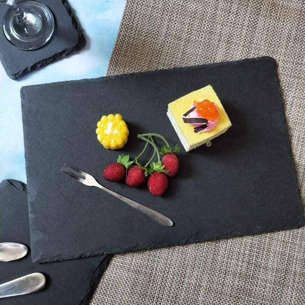 Meat Boards Coaster Fruit Party MONKEY SUN Slate Placemats Slate Serving Tray for Cake Entertainment 12 x 8 Inch 4 Pack Black Slate Cheese Board Natural Slate Cheese Plates for Kitchen Dining