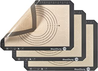Non-slip Silicone Pastry Mat Multipurpose Baking Mat with Measurements for Macaron Mat,Cookie Oven Liner,Counter Mat,Dough Rolling Mat,Fondant/Pie/Pizza Crust Mat - Upgrade, 3 Pack