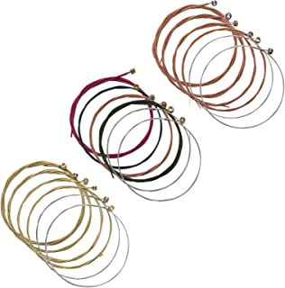 Maosifang 3 Sets of 18 Guitar Strings Replacement Steel String Set for Acoustic Guitar (Gold/Rose Gold/Multicolor)