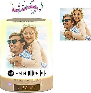 Lámpara Spotify personalizada Control táctil con altavoz Bluetooth Lámpara de mesa de luz nocturna con foto personalizada Modos regulables y 7 colores para cambiar de regalo para mujeres, hombres