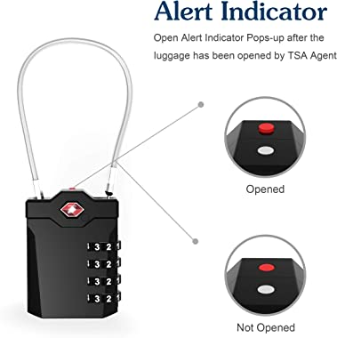 TSA Approved Luggage Locks with Steel Cable 4 Digit Combination Lock with Inspection Indicator Keyless Padlock for Suitcase B