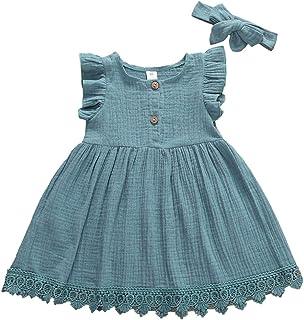 Robe d'été pour petite fille, robe de princesse, manches de mouche, ourlet en dentelle, bandeau en dentelle, robe de baptê...