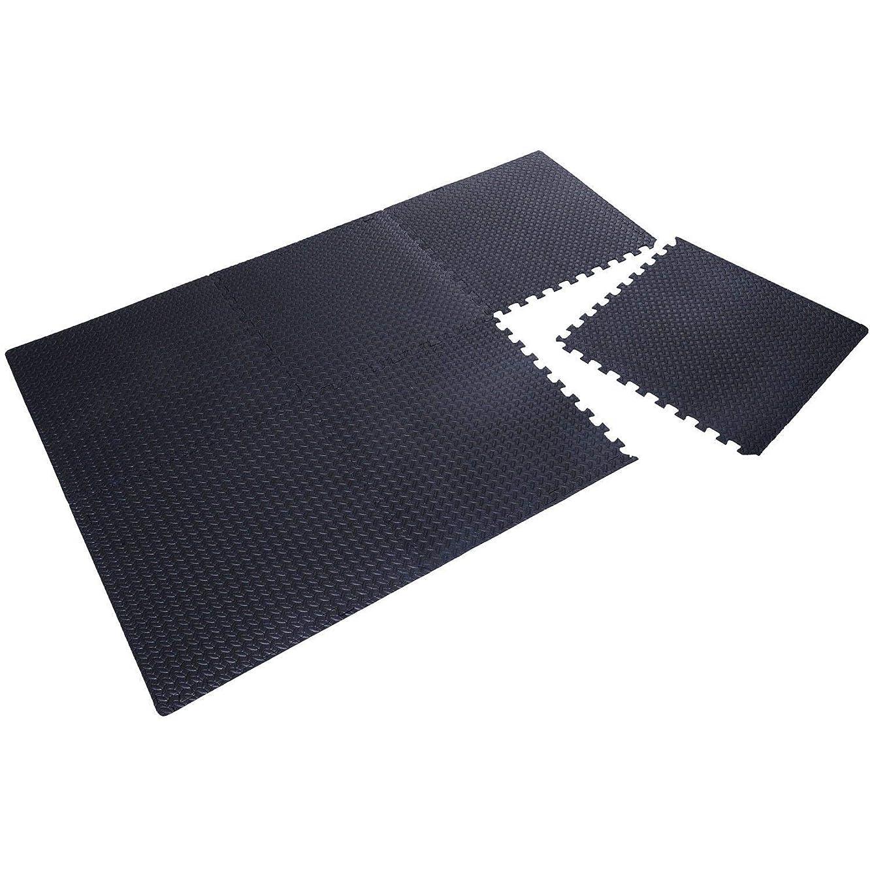 Festnight Exercise Foam Floor Mat Interlocking Puzzle Foam Play Mat Tiles Black Diamond Plate 24