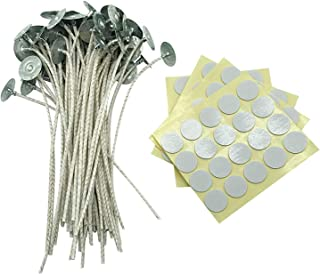MILIVIXAY Candle Wick Bundle: 100 Candle Wicks, 100 Stickers and 3 Wick Holders - Easy Positioning - Wicks Coated With Nat...