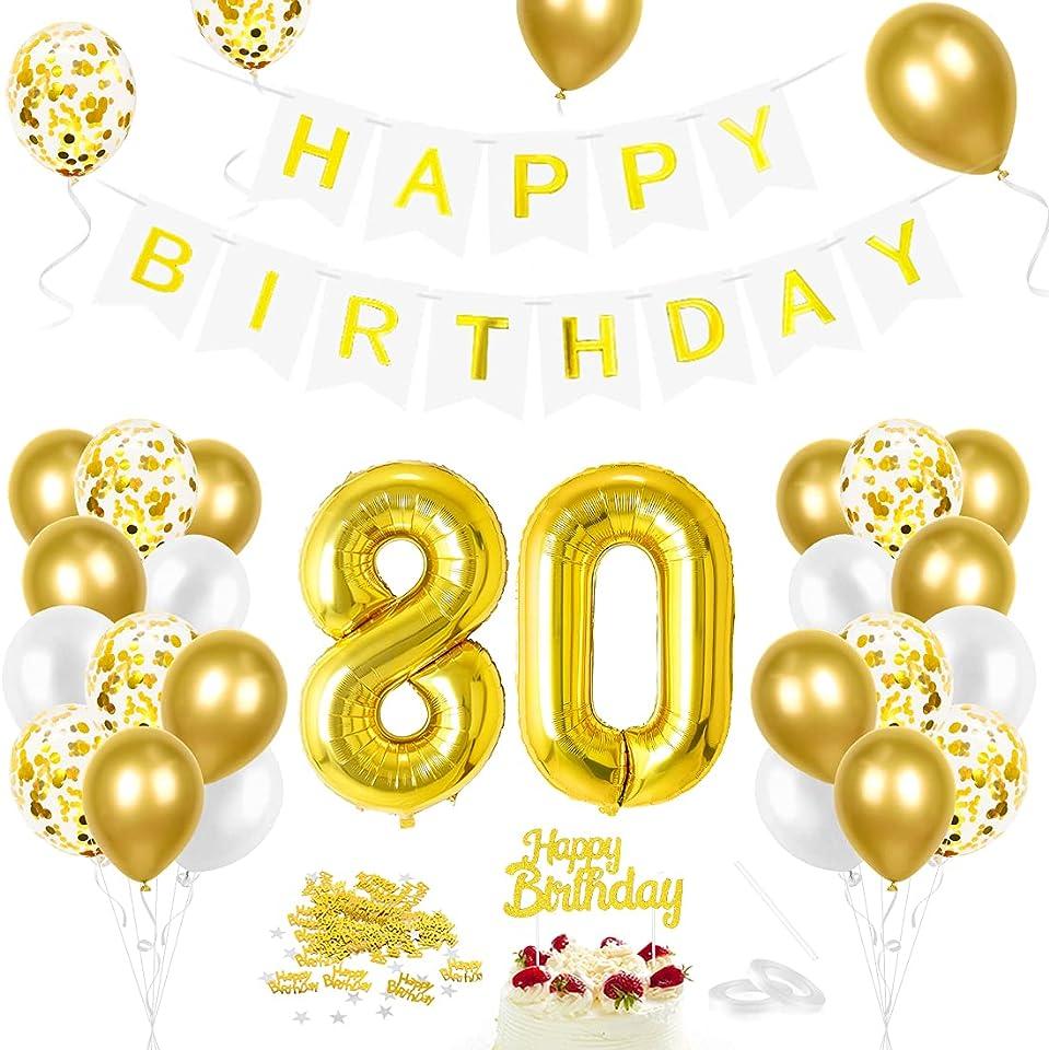 Luftballon 80. Geburtstag Golden, Geburtstagsdeko 80 Jahr, Ballon 80. Geburtstag, Riesen Folienballon Zahl 80, Happy Birthday Folienballon 80, Ballon 80 Deko zum Geburtstag Mann Frau