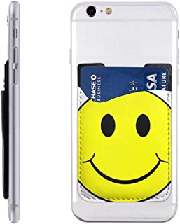 Funny Cartoon Expression Face Phone Card Holder Stick On Credit Card Wallet PU Leather Wallet Pocket Sleeve for Most of Smartphones iPhone, Android, Samsung Galaxy