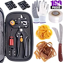 Swpeet 190Pcs 2-in-1 Garden Grafting Tools Kit, Including Garden Pruning Tools with 3 Extra Blades Grafting Tapes Rubber Bands Garden Gloves and Grafting Gardening Knife for Plant Branch Cutting