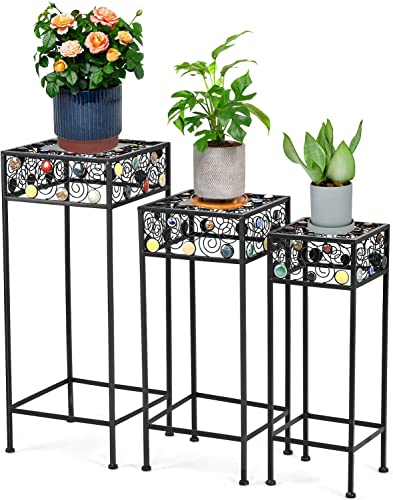 2021 Giantex Set of 3 discount Metal Plant Stand, 3 Pieces Flower Pot Holder Rack with Ceramic Beads Design, Irons Planter Supports Display End Table high quality for Home Patio Garden (Square) online