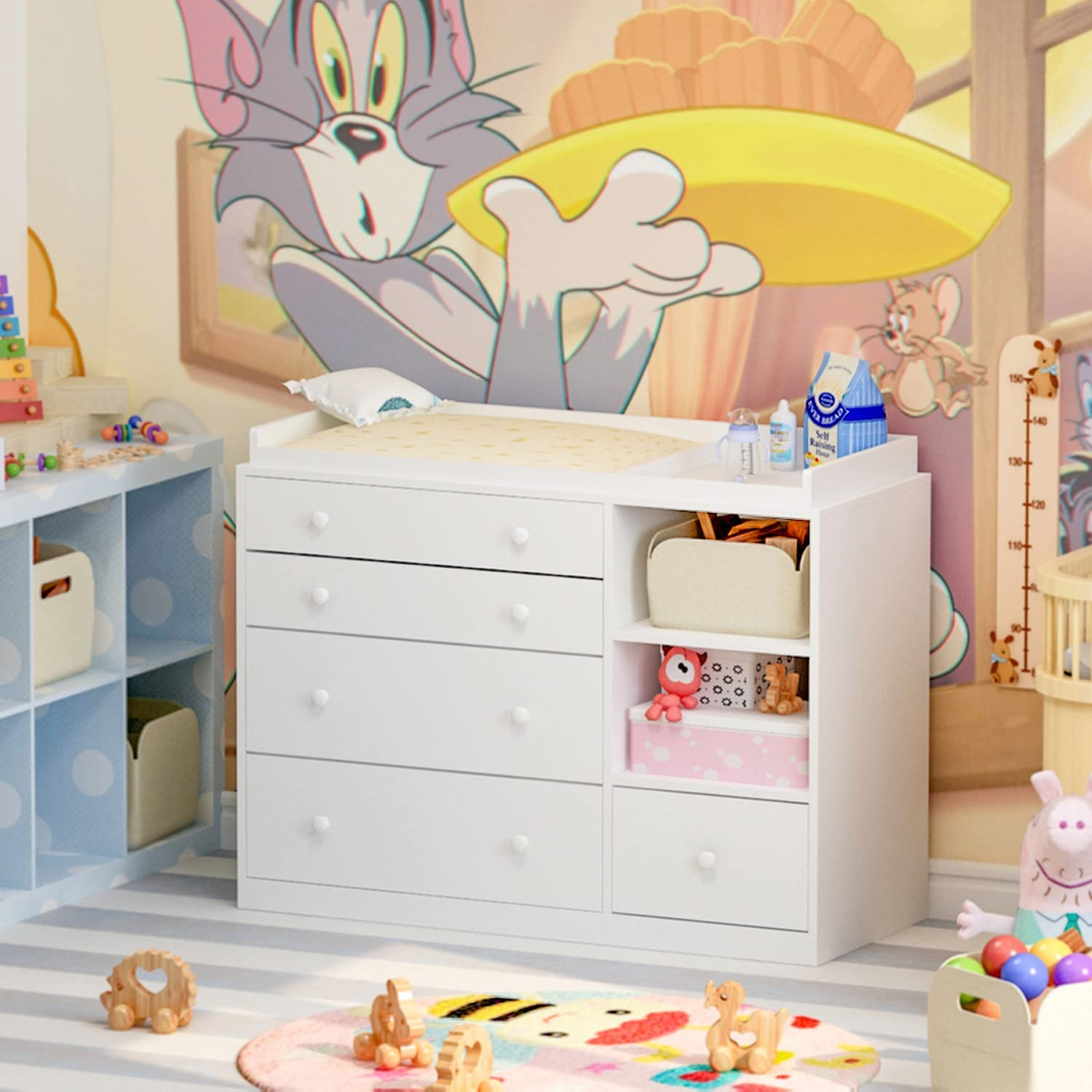 FAMAPY New item Nursery Dresser Baby with outlet Shelves 2 5 Drawer fo