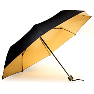 Suck UK Black and Gold Windproof Travel Lightweight Compact Folding Manual T Umbrella