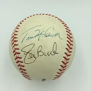 Jack & Joe Buck Mike Shannon Mccarver Cardinals Broadcasters Signed Baseball JSA