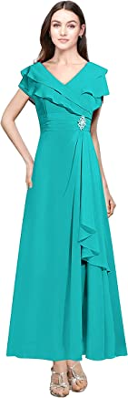 fcc3c5a265 Lily Anny Womens Chiffon Lotus Sleeves Mother of Bride Dress Evening Gown  L092LF